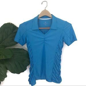 Athleta Birdie Ruched Polo Short Sleeve Top! NWOT!